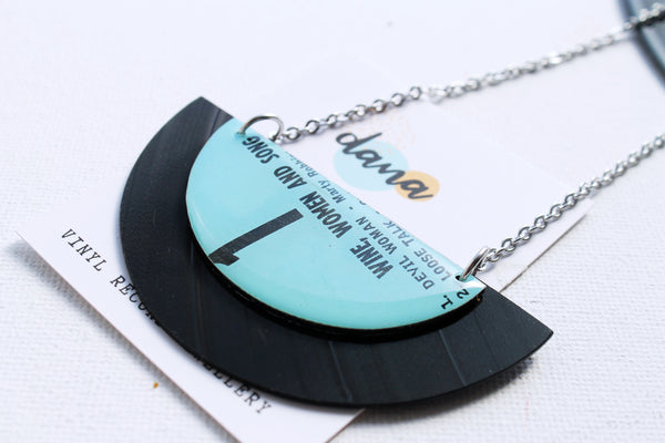 Funky large handmade half disc vinyl record necklace by Dana Jewellery