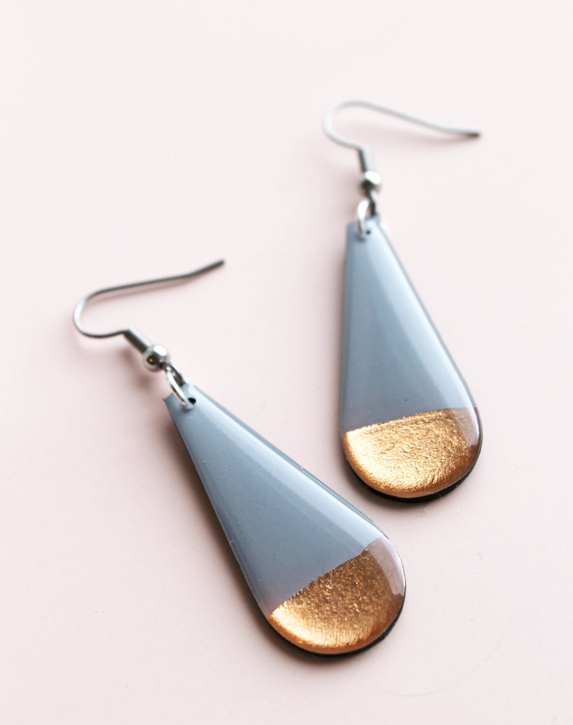 *new* minimal in grey and copper / recycled vinyl earrings