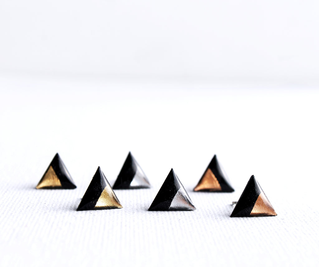Contemporary triangle stud earrings handmade from recycled vinyl record