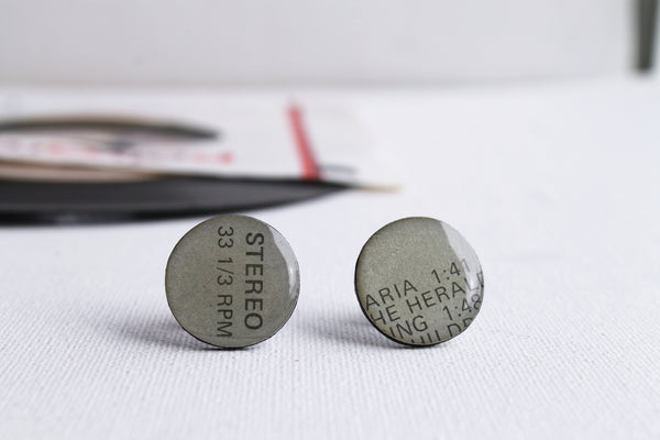 30% OFF Grey recycled vinyl record stud earrings by Dana Jewellery