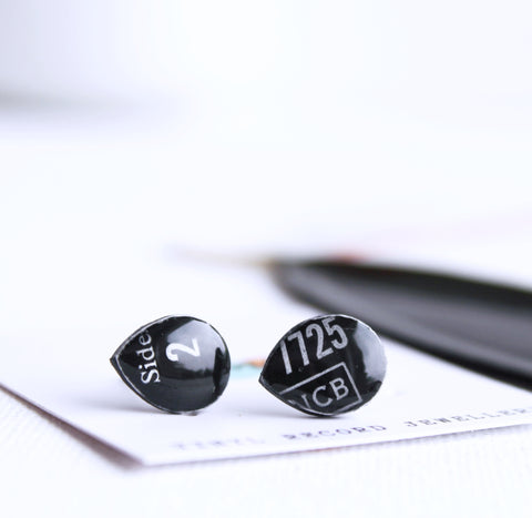 simple black teardrop recycled vinyl record studs by DANA Jewellery