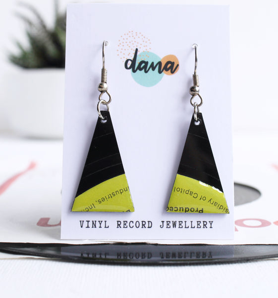 *NEW Bright lime green Capitol Records quirky earrings