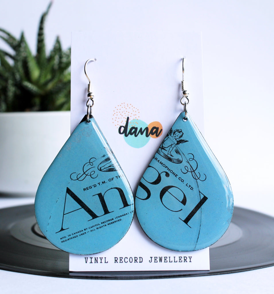 *new ANGEL one of a kind ashy blue recycled vinyl earrings