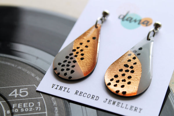 *new* fab upcycled teardrops in grey, copper and black