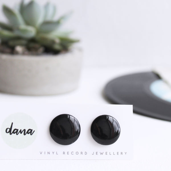 16mm black resin upcycled vinyl record post earrings
