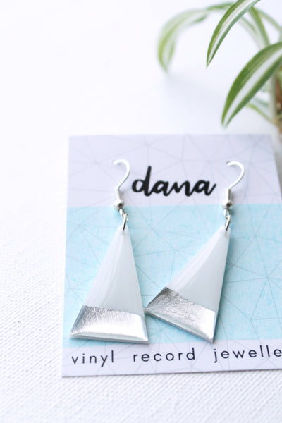 Silver dipped white vinyl record triangle dangle earrings