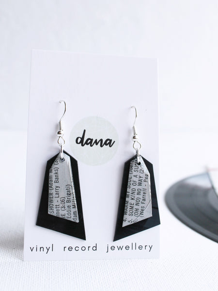 Silver grey handcrafted recycled dangle earrings / ooak vinyl jewelry