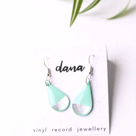 Minimal silver dipped mint green vinyl record earrings