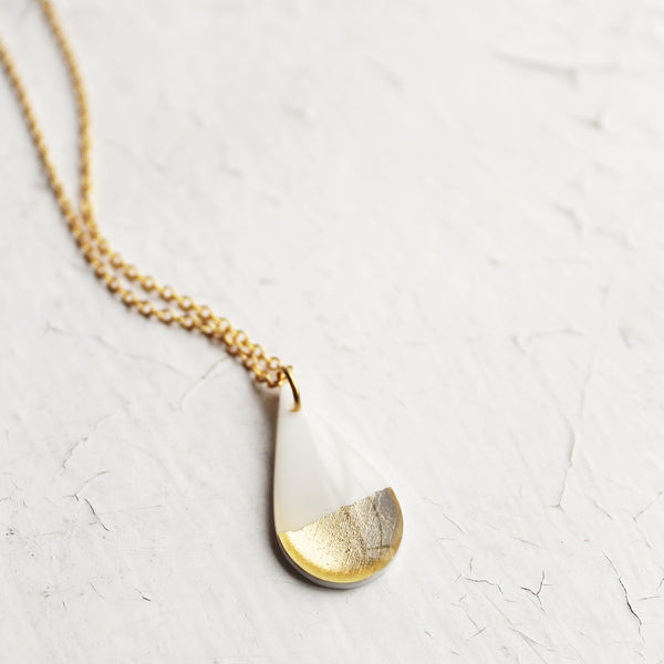 Dainty teardrop white and metallic necklace / pick your tone