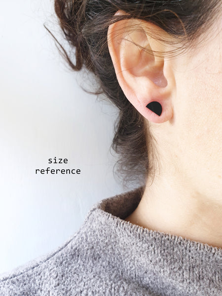 minimalist black flat semicircle studs made from upcycled vinyl record