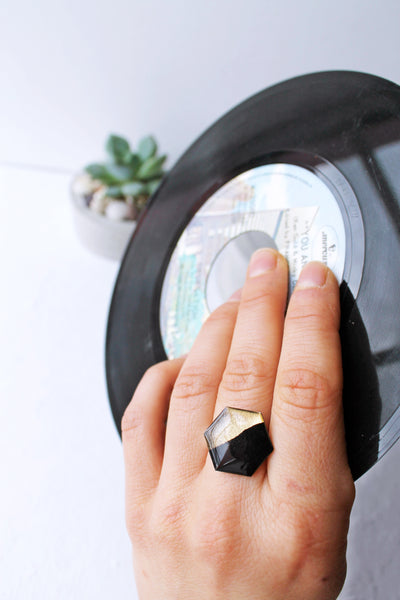 Gold dipped vinyl record geometric ring in black and gold