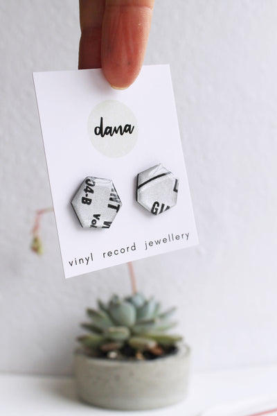 """Giant"" gray silver handmade recycled stud earrings / vinyl record jewellery"