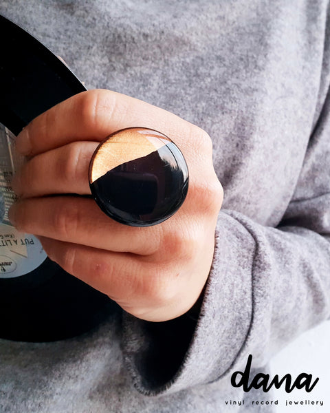 Edgy adjustable ring in black and copper / recycled vinyl record jewelry
