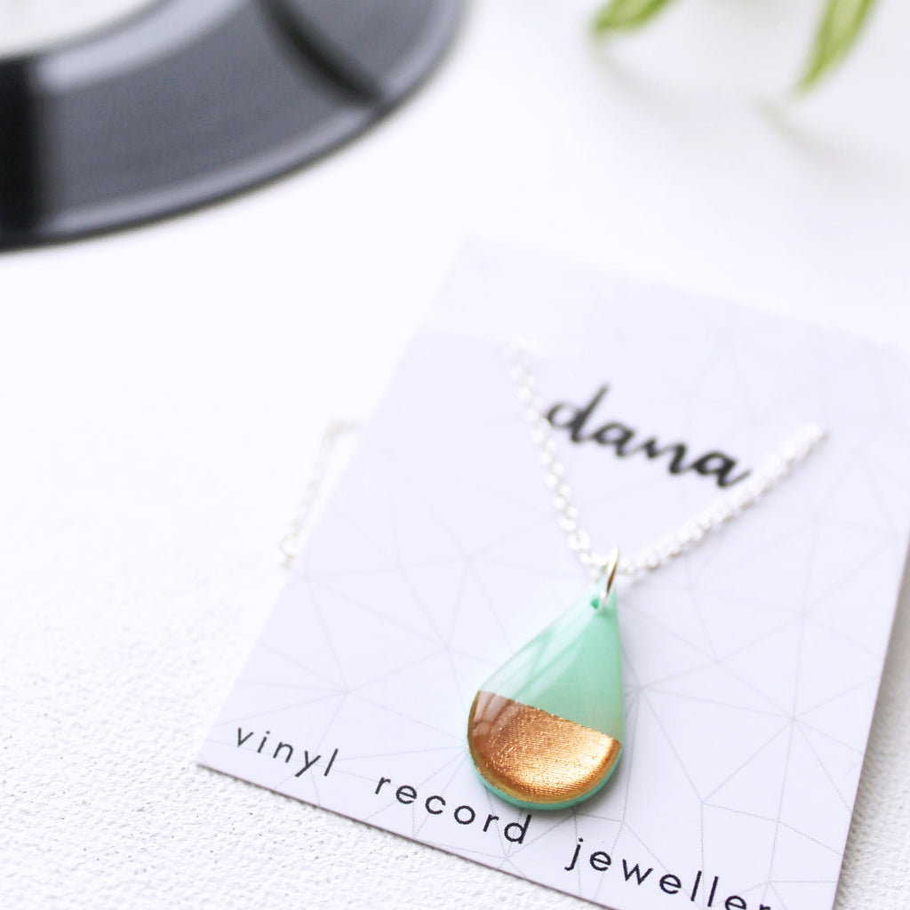 mint green and copper dainty vinyl record drop necklace