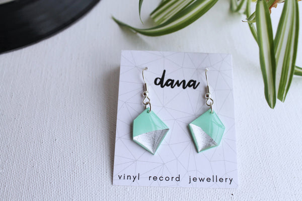 Nugget mint and silver vinyl record earrings