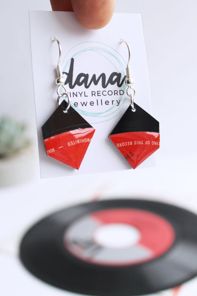 Black and red geometric dangle earrings handmade from recycled vinyl record