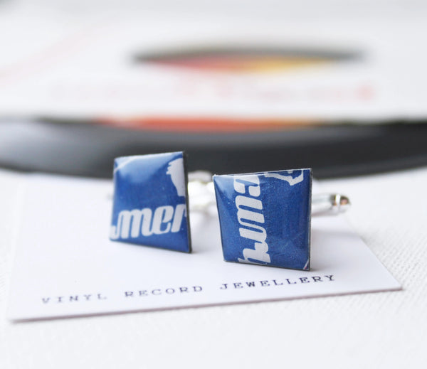 blue cufflinks handcrafted from a Mercury vinyl record - one of a kind
