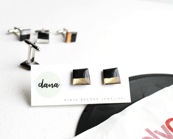 Modern upcycled vinyl record cufflinks in black and gold