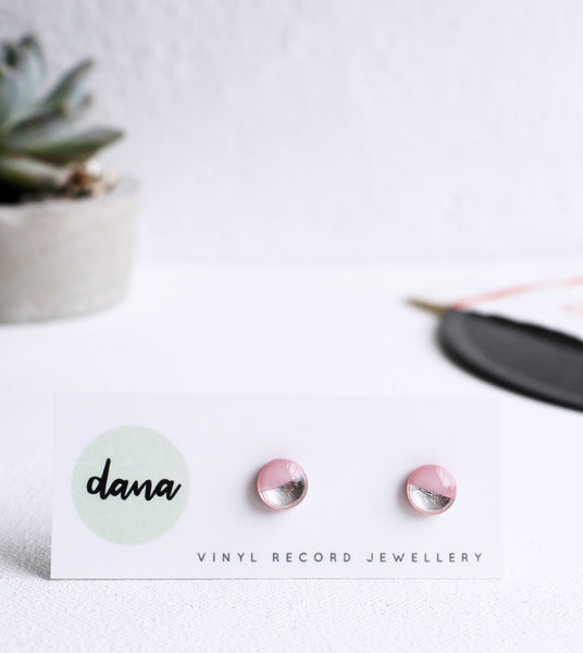 Dainty 8mm silver dipped pink stud earrings / vinyl record jewelry