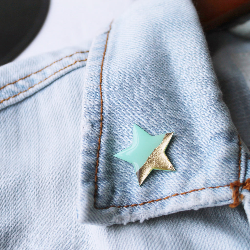 mint and gold star pin badge / vinyl record jewelry