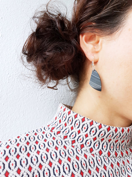 Black minimalist vinyl record dangle earrings by Dana Jewellery