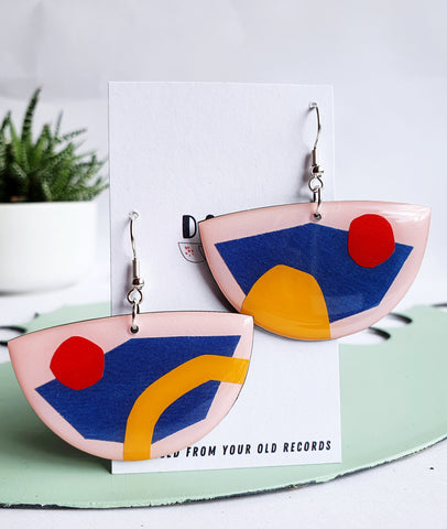 art on your ears / abstract contemporary upcycled vinyl record earrings