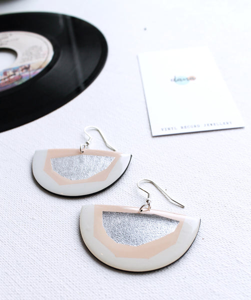 Classy pink and silver upcycled vinyl record semicircle earrings / responsible fashion