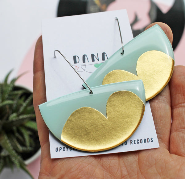 abstract upcycled vinyl earrings in gold and retro minty green