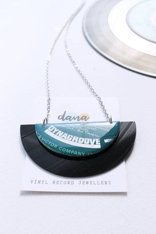 Old school retro large vinyl record necklace by Dana Jewellery