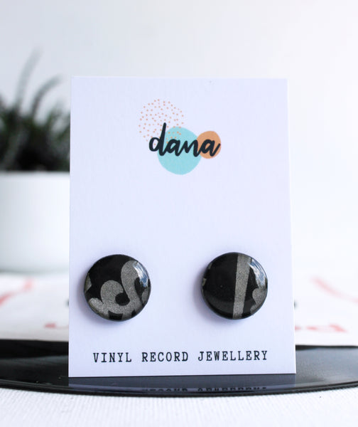 20% OFF black studs handmade from recycled vinyl record
