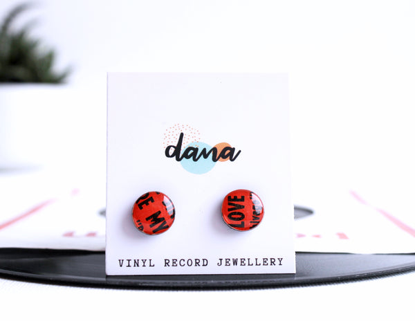 small round red recycled vinyl record stud earrings handmade in Ireland