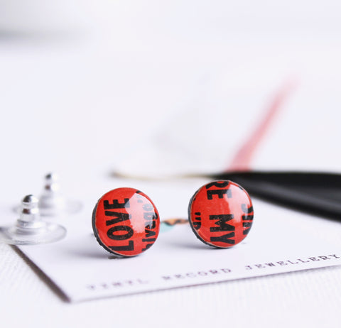 *New MY LOVE 10mm disc upcycled vinyl record studs in red