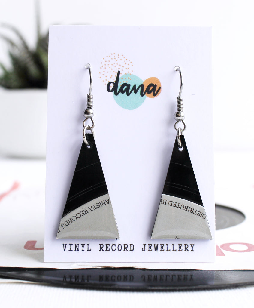 *NEW Black and silver Arista Records upcycled handmade earrings