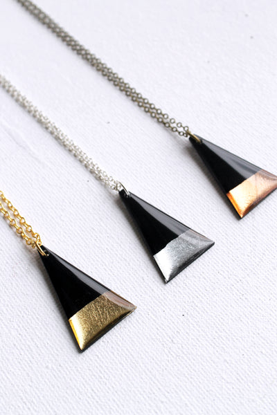 Contemporary minimal chic triangle pendant handmade from vinyl record / ethical fashion