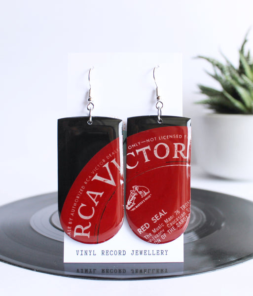 *new* RCA Victor deep red recycled vinyl record earrings