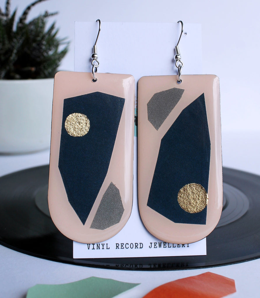 Art jewelry handmade from recycled materials / vinyl record earrings deep blue and a hint of gold