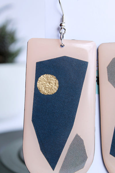 40% off Art jewelry handmade from recycled materials / vinyl record earrings deep blue and a hint of gold
