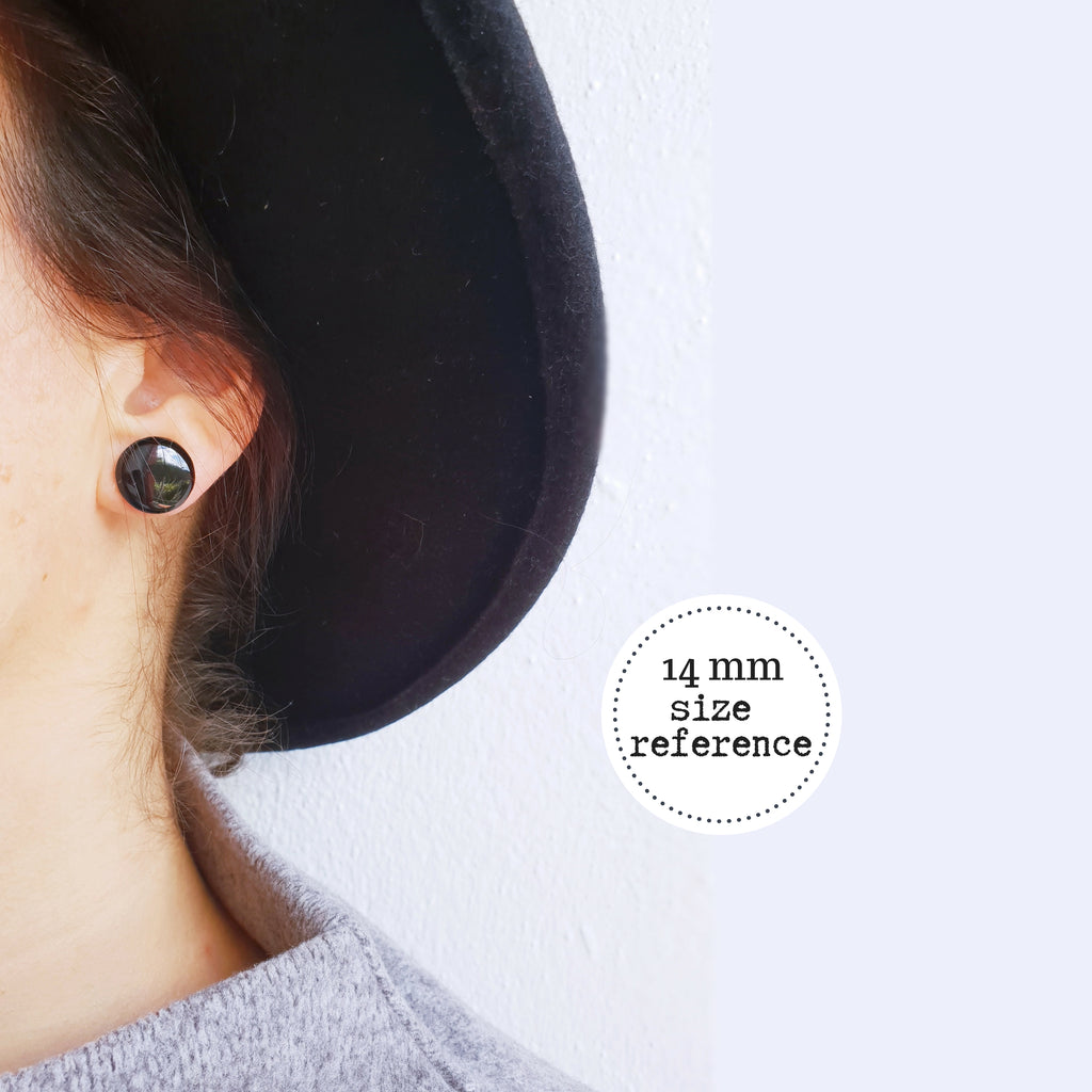 14mm black eco-friendly upcycled vinyl record post earrings / black resin studs