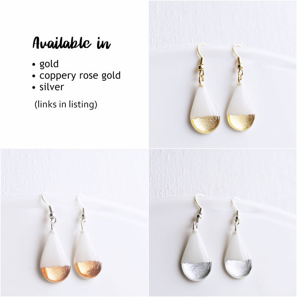 Dainty minimalist coppery rose gold and white teardrop earrings