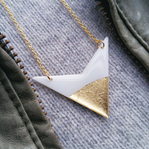 minimal white and gold arrow necklace / vinyl record necklace