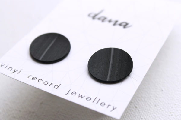 Black vinyl record cufflinks / recycled gift for him