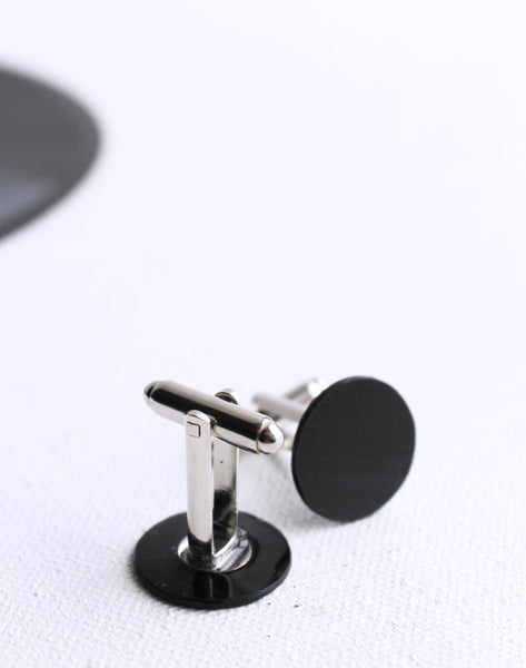 Black vinyl record disc cufflinks / eco-friendly gift for him
