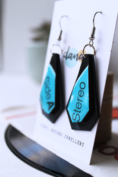 Geometric vinyl record earrings handmade in Ireland by Dana Jewellery