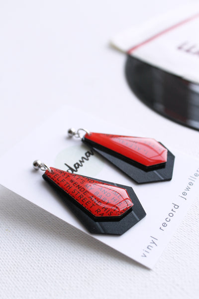 Bold black and red geometric vinyl record dangle earrings