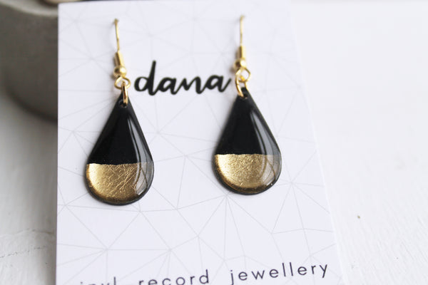 Black and gold dipped drop earrings / vinyl jewelry