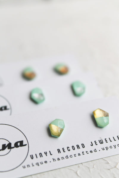 Minty metallic geometric stud earrings