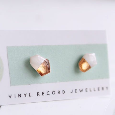 Dainty geometric white and rose gold hypoallergenic post earrings