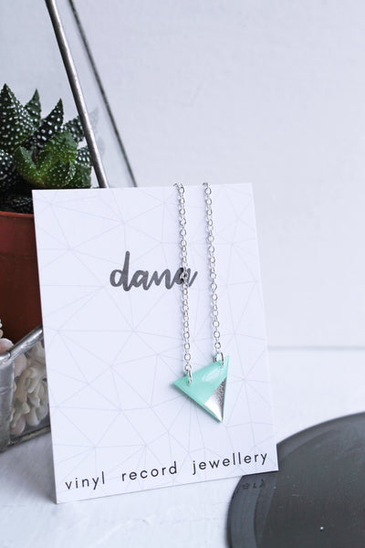 Geometric silver dipped triangle necklace / vinyl record jewelry