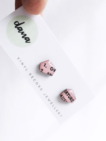 blush pink mismatched stud earrings handmade from vinyl record