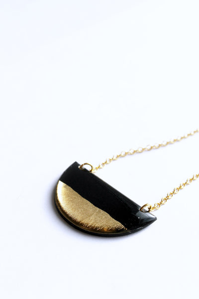 ethical gold dipped half disc necklace - vinyl record jewelry